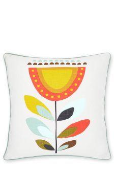 Retro Geometric Floral Cushion