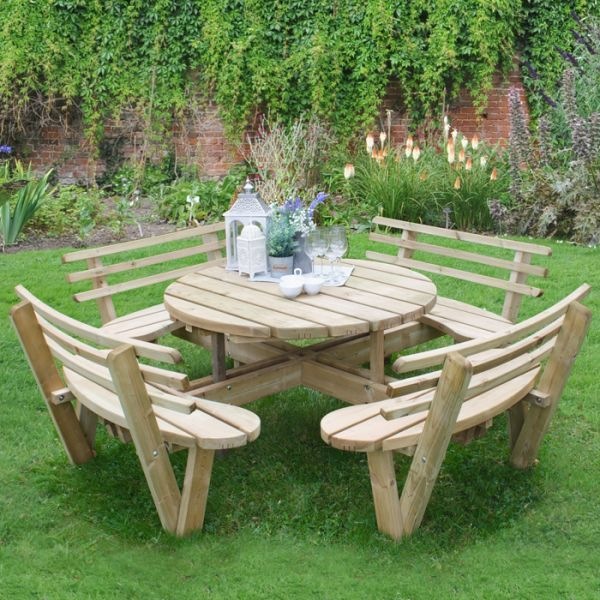 Outstanding Hartwood Circular Picnic Table With Seat Backs In 2019 Gmtry Best Dining Table And Chair Ideas Images Gmtryco
