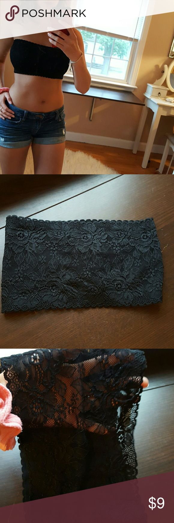 Bandeau top Black lace size S. Zenna outfitters. Back is lace see thru, front has black layer under black lace. Never worn. Forever 21 Intimates & Sleepwear Bandeaus