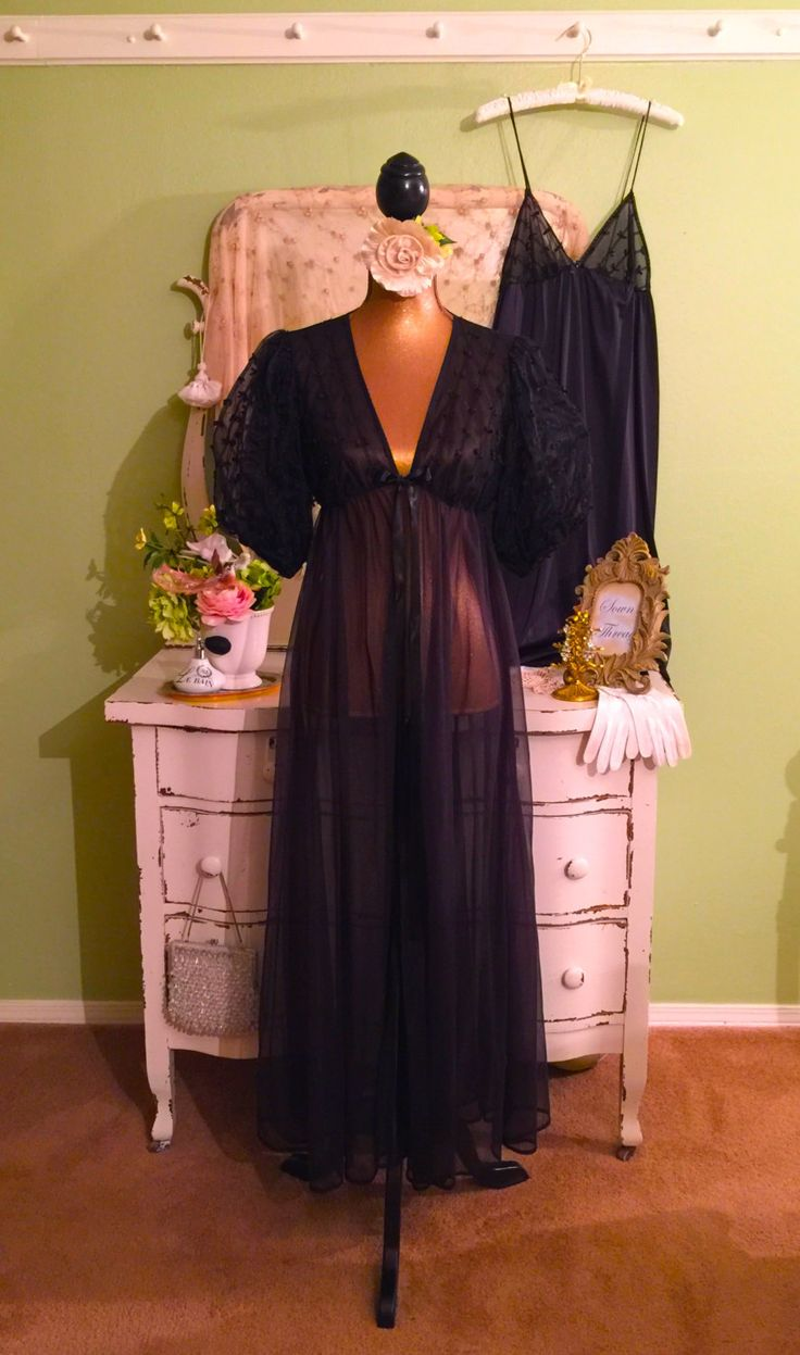 Romantic Chiffon Nightie Set, Black w Double Puff Sleeves, Nightgown and Robe, Elegant Peignoir, Vintage Lingerie, Long Nightdress Set, L by SownThreadsClothing on Etsy