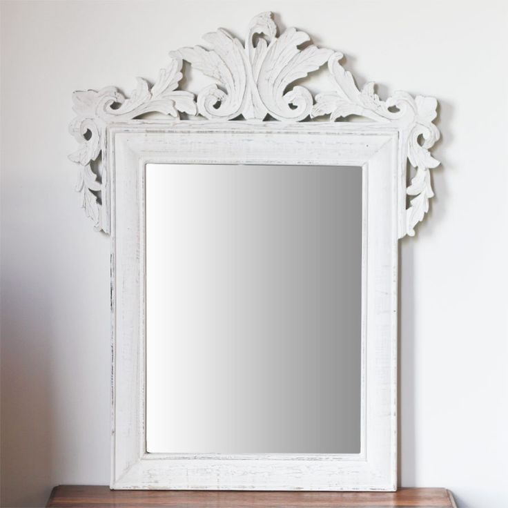 White Carved Mirror Large