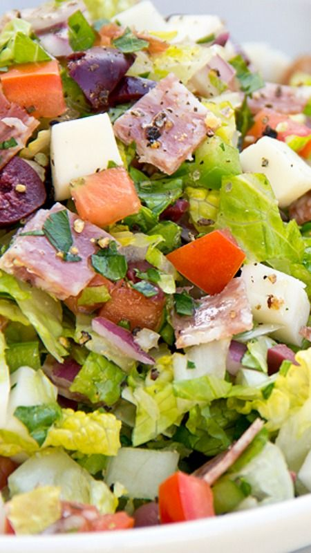 Italian Chopped Salad ~ with Fresh Mozzarella and Salami In Herbed Red Wine Vinaigrette with Garlic Toast Wedge