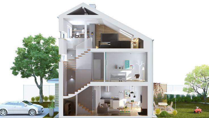 Przestawiamy przekrój 3-pokojowego mieszkania na osiedlu Świerkowa Polana. Każde mieszkanie, z osobnym wejściem, prywatnym ogrodem i dwoma miejscami postojowymi, podzielone jest na funkcjonalne strefy: dzienną i prywatną.