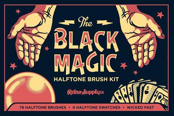 Black Magic Vector Halftone Brushes by RetroSupply Co. on @creativemarket