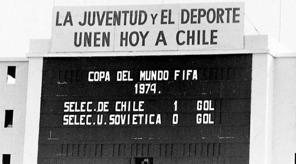 El tablero marcador del Estadio Nacional.