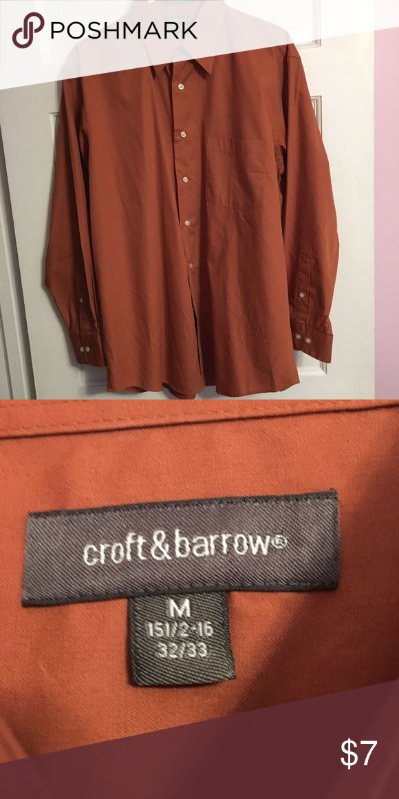 Croft & Barrie rust orange dress shirt Croft & barrow burnt orange dress shirt- great condition- worn only a couple of times. Great color for fall! Size Medium, 15.5-16, 32/33. croft & barrow Shirts Dress Shirts