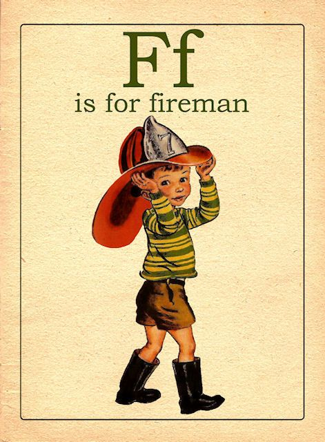 f: Fireman And Fun, Alphabet Flash Cards, Alphabet Cards, Letter F, Fireman Birthday, Card Stock, Things, Vintage Flashcards