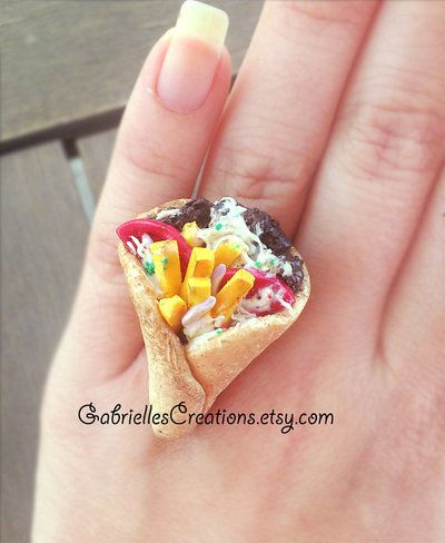 Greek Gyros Ring - Pita - Traditional Greek Food Jewelry - Miniature Food Mediterranean - Kawaii Jewelry Food Polymer Clay Food - Greek Ring from G Creations on Wanelo