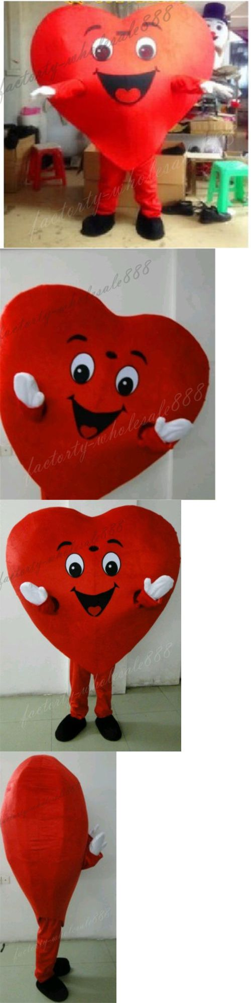 Halloween Costumes: Halloween Red Love Heart Mascot Costume Christmas Valentine Party Dress Adult BUY IT NOW ONLY: $89.88