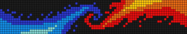 Water and fire pattern / chart for cross stitch, crochet, knitting, knotting, beading, weaving, pixel art, and other crafting projects