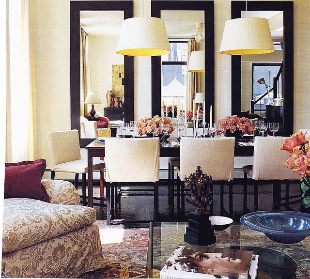 Inexpensive design tip three vertical mirrors in dining for Dining room mirror ideas