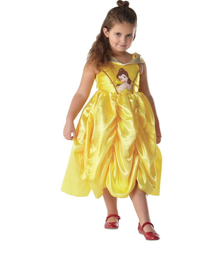 Disfraz de Bella™  para niña: Este disfraz de Bella™para niña está compuetso por un vestido (zapatos no incluidos). El vestido es amarillo en efecto satinado con detalles dorados y rojos. Este disfraz bajo...