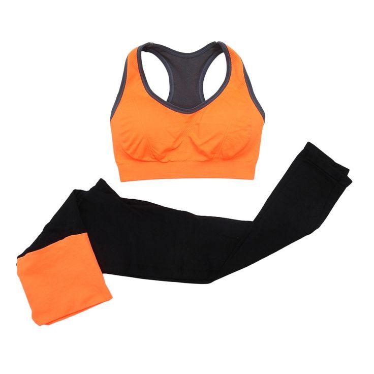 2 Pz Donne Senza Soluzione di Continuità Reggiseno Sportivo + Pants Leggings Set Workout Yoga Fitness Tuta