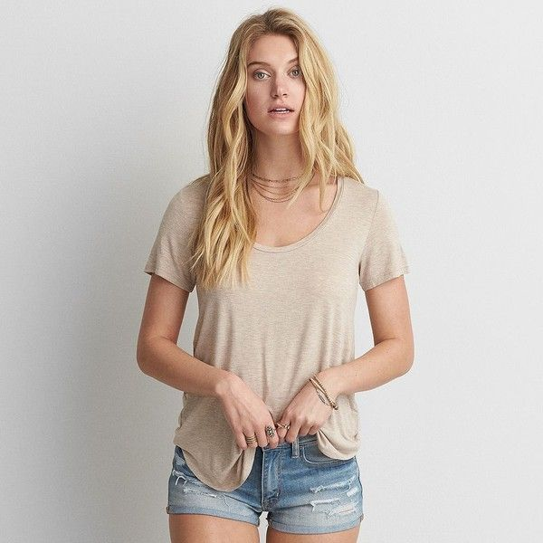 AE Soft & Sexy Short Sleeve T-Shirt ($20) ❤ liked on Polyvore featuring tops, t-shirts, neutral, sexy t shirts, curved hem tee, american eagle outfitters t shirts, relax t shirt and short sleeve t shirts