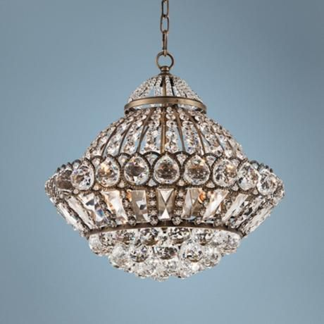 "Wallingford 16"" Wide Antique Brass and Crystal Chandelier -"