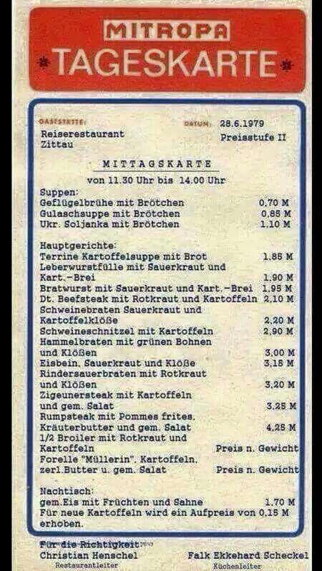 Mitropa Tageskarte DDR   ~   ⇅ ≦    https://de.pinterest.com/andybsc57/ddr/
