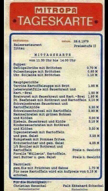 Mitropa Tageskarte DDR