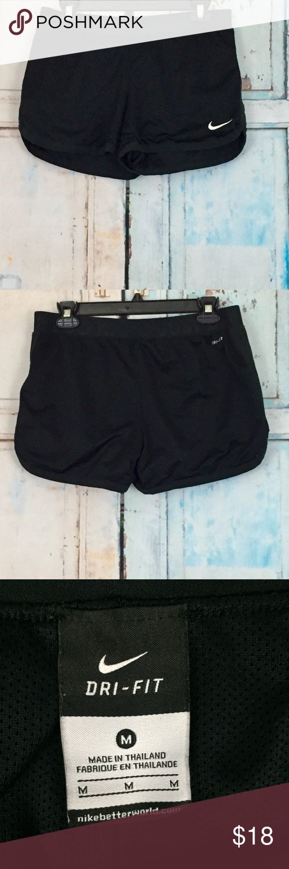 Nike Dri fit shorts Nike Dri fit shorts. Super comfy black nike jogging shorts. Jersey material that is lined. Size is Medium. Fabric is 100% polyester. Nike Shorts