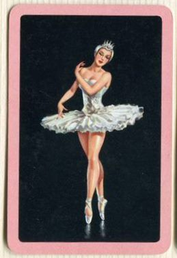 Swap Cards_ballerina on black, pink border