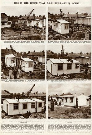 During the Second World War many houses were destroyed, due to this, prefabricated houses (prefabs) were built, quickly and cheaply providing quality housing with all the amenities, central heating, modern kitchens, built-in cupboards. These photographs here in 1945, shows prefabs being built within 3 and an half hours in Shirehampton, Bristol, using aluminium salvaged from crashed aircrafts, they were sponsored by The Ministry of Aircraft Production.