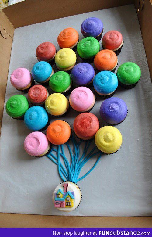 """""""Up""""; cupcake cake"""