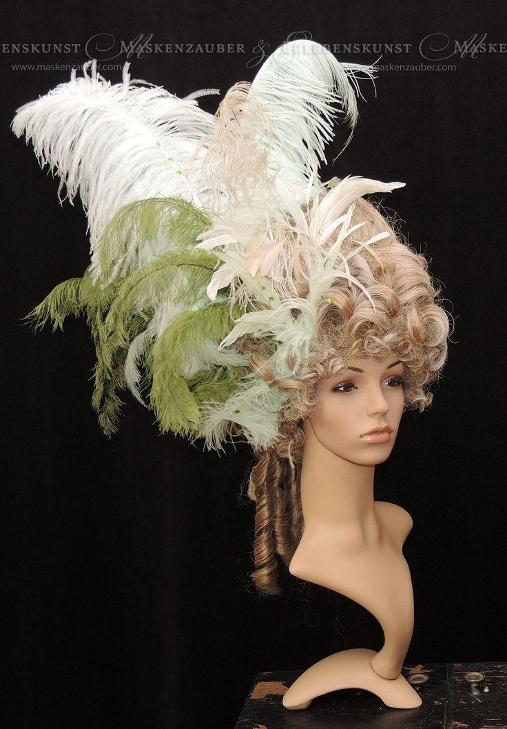 Marie-Antoinette-Wig Rokoko Karneval-Perücke Barock Perücke mit Federschmuck Fasching Maskenball von Maskenzauber auf Etsy