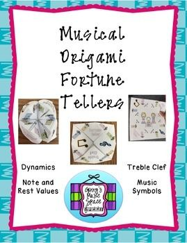 Great for music substitutes!  No music skills needed!  And, what child doesn't love those origami fortune tellers?