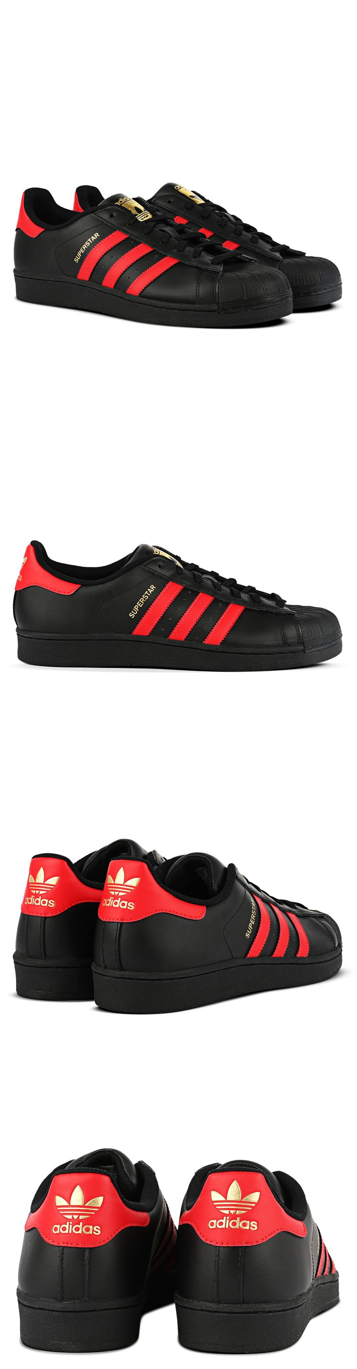 Men Shoes: Adidas Superstar Shoes Mens Sneakers Black/Red Adidas Originals S80694 New BUY IT NOW ONLY: $72.0