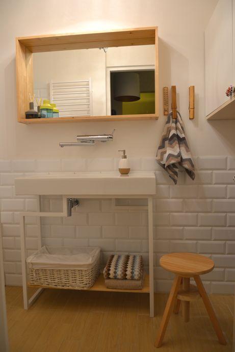 Bathroom: Vives Mugat Blanco tiles;mirror Molger and chair- Ikea;