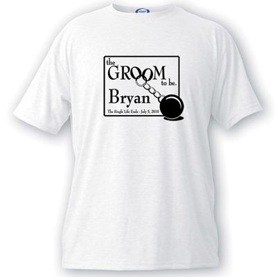 Help him mourn the loss of life as he knows it with our personalized Groom-to-be ball-and-chain-motif tee