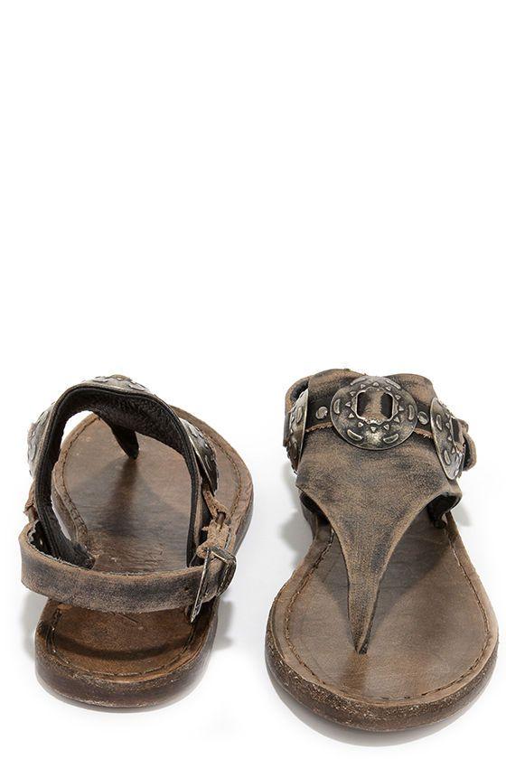 Matisse Ringo Black Tumbled Leather Western Thong Sandals