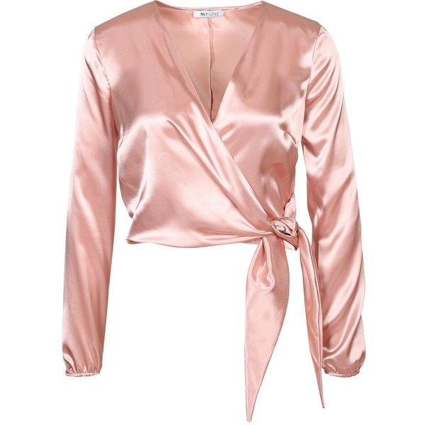Nly One Satin Wrap Blouse ($35) ❤ liked on Polyvore featuring tops, blouses, wrap style top, satin wrap blouse, long sleeve tops, short tops and satin top