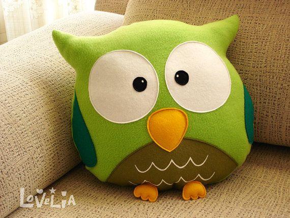 GREEN OWL CUSHION RainbOWL -Decorative plush pillow -