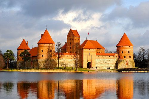 Trakai Island Castle, in Trakai, Lithuania on an island in Lake Galve, Lithuania