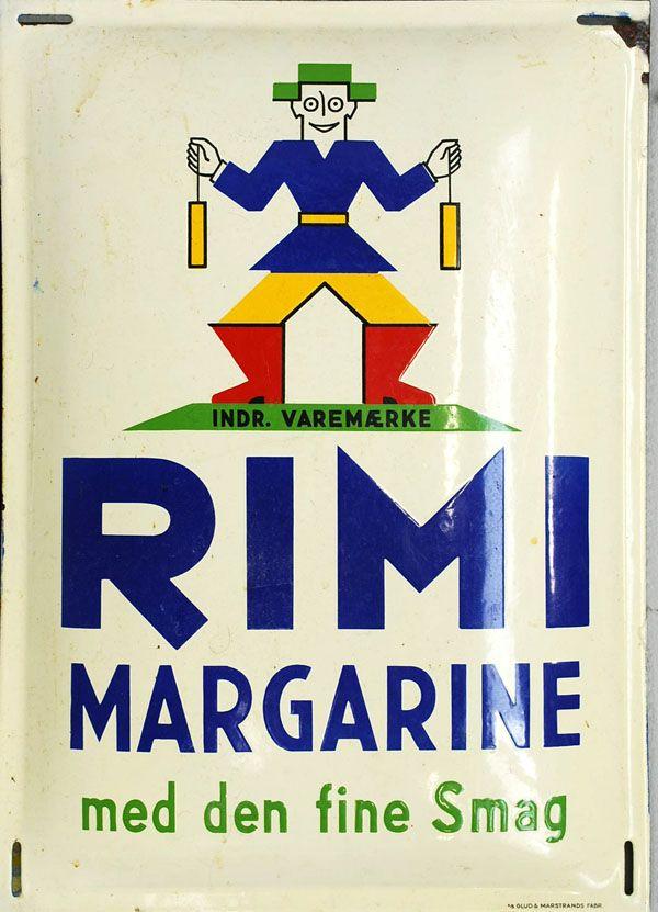 Emaljeskilt fra Glud og Marstrand: Rimi Margarine, ca. år 1935, 49 x 35 cm.
