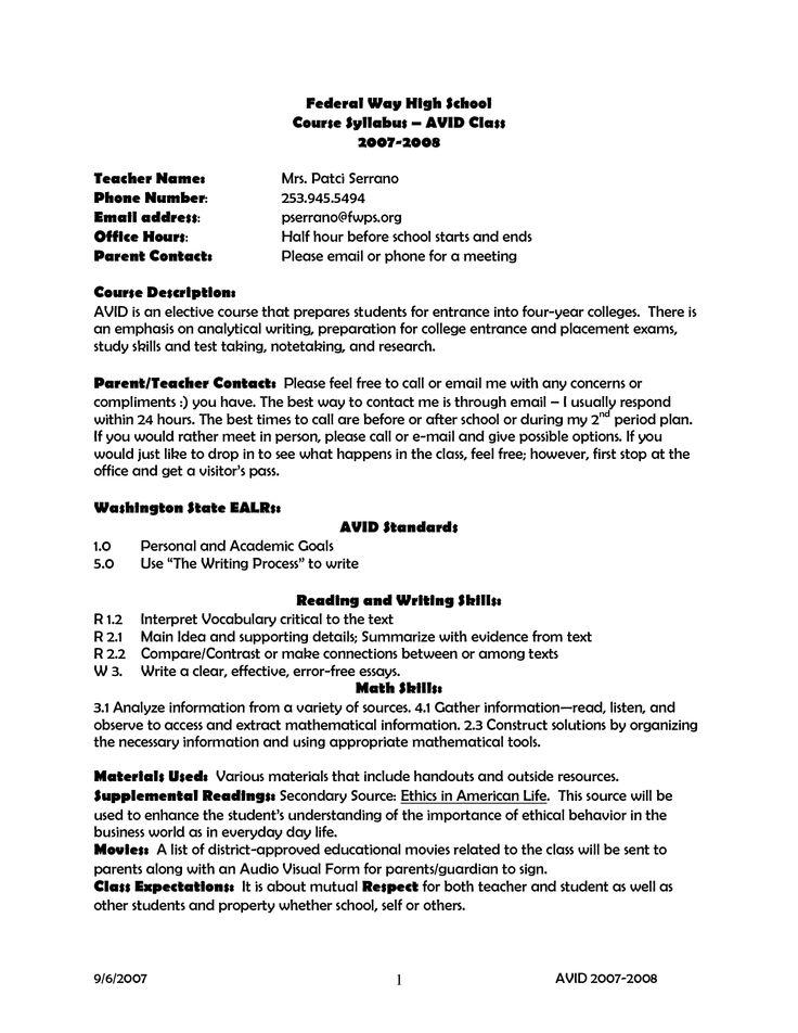 Sample syllabus High school courses, Syllabus, Starting