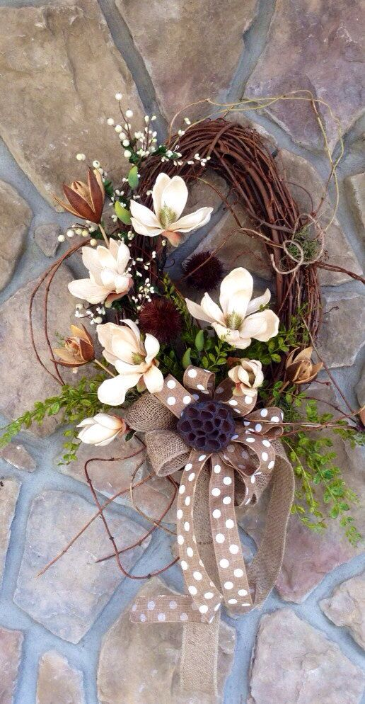 Southern Magnolia Oval Grapevine Wreath Burlap Ribbon; like pod in center of bow