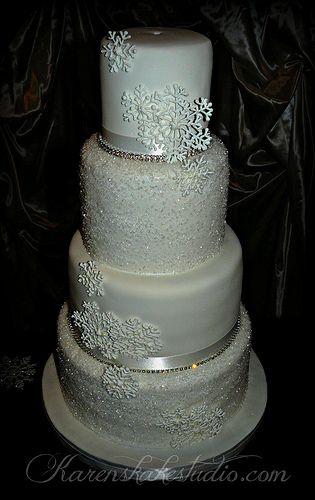 crystal Winter Wedding Cake...snowflakes need mild sparkle