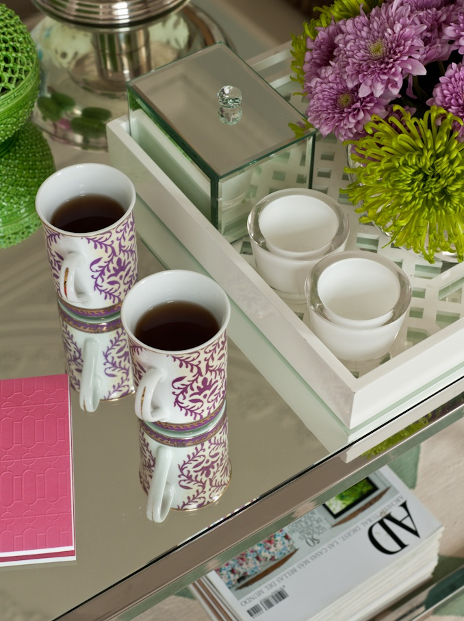 cofee table, mirrored table,
