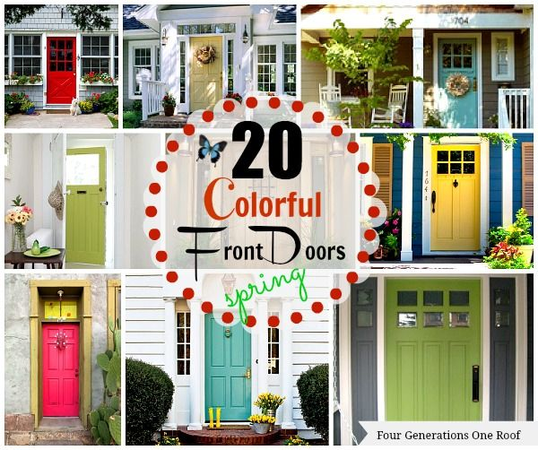 20 colorful front door colors {#Spring updates to add curb appeal} #DIY by Jessica Bruno at www.fourgenerationsoneroof.com