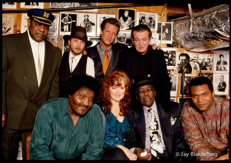 Johnnie Johnson, Roy Rogers, John Hammond Jr.,Charlie Musselwhite.  front row left to right Albert Collins, Bonnie Raitt, John Lee Hooker, Robert Cray January 6, 1992