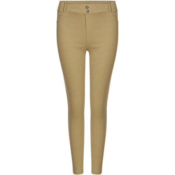 Yoins Khaki Simple Ladies Style Fashion Leggings ($16) ❤ liked on Polyvore featuring pants, leggings, khaki, beige pants, khaki pants, khaki leggings, khaki trousers and legging pants
