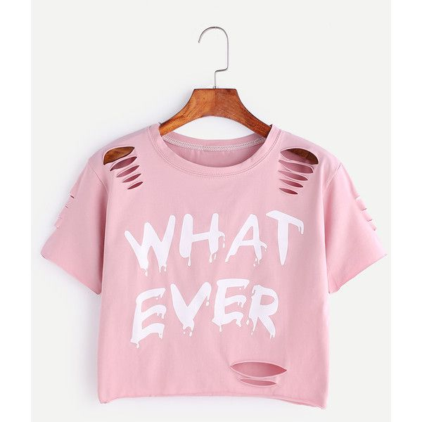 SheIn(sheinside) Letter Print Ripped Crop T-shirt ($10) ❤ liked on Polyvore featuring tops, t-shirts, graphic t shirts, pink t shirt, summer t shirts, distressed graphic tee and long-sleeve crop tops