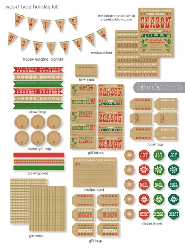 WoodTypeHolidayKit -   http://celebrationsathomeblog.com/2011/11/free-christmas-printables-classic-meets-natural.html#: Printable Kits, Holidays Printable, Holidays Gifts, Types Holidays, Free Christmas, Gifts Tags, Christmas Tags, Free Printable, Christmas Printable