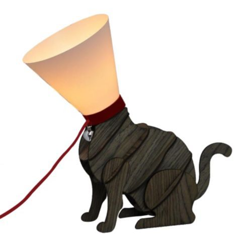 Modern Designer Style Sitting Cat Table Lamp with Cone Shade