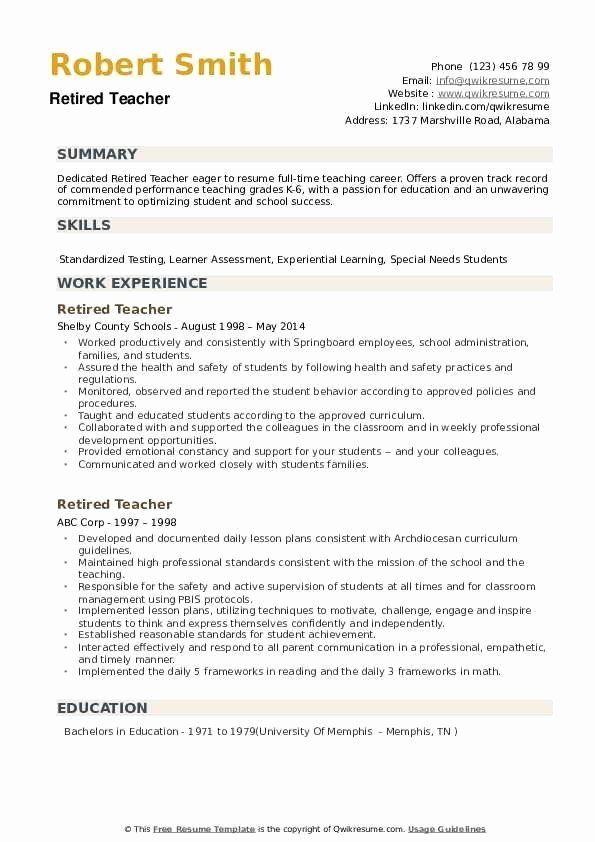 Resume For Retired Person Elegant Retired Teacher Resume Samples In 2020 Teacher Resume Teaching Career Kindergarten Worksheets Printable