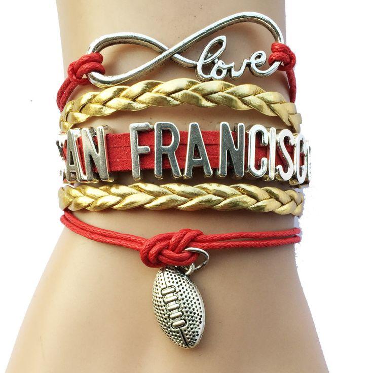 Бесконечность любви сан-франциско нкаа футбол колледж игрока браслет - пользовательские спорт кожи обертывание браслет