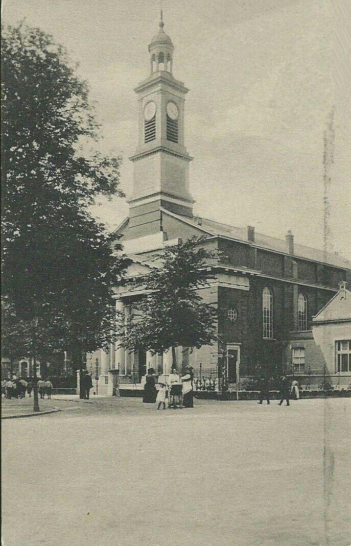 Hoflaankerk, in 1842 ingewijd op 26 december. Hoek Hoflaan Oudedijk, gezien vanaf de hoek waar nu Wan Kok zit