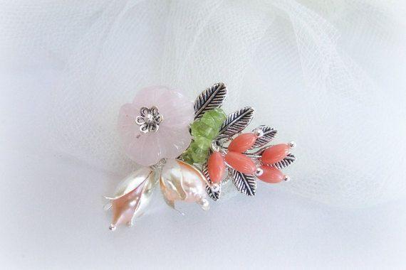 Floral brooch gemstones brooch woodland by MalinaCapricciosa