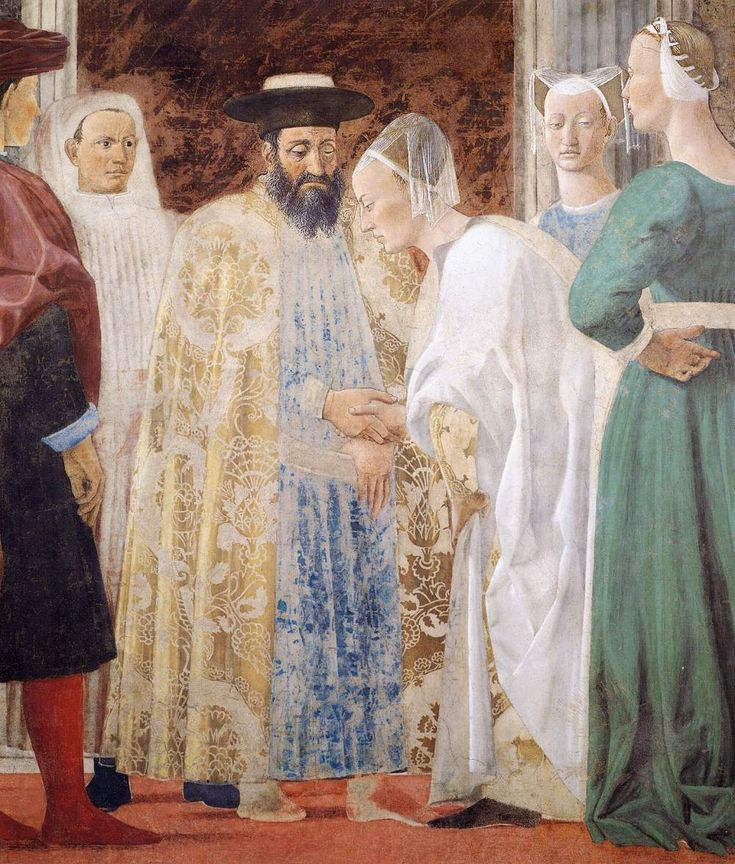 King Solomon explained everything she asked about, and there was nothing so obscure that the king could not explain it to her. (1 Kings 10:3) // Meeting between the Queen of Sheba and King Solomon // 1452-1466 // Piero della Francesca // (Fresco) San Francesco, Arezzo